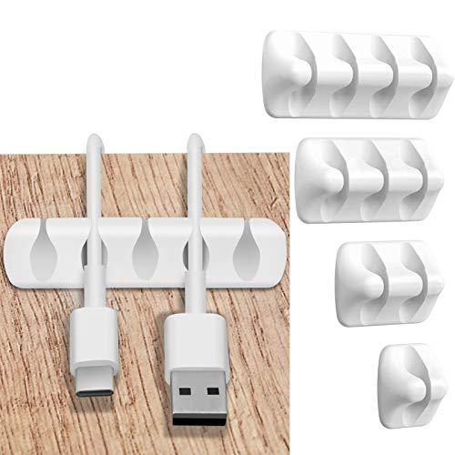5 Stück Kabelhalter Kabelclips,Vielzwecke Kabelführung Kabel Organizer Set für Schreibtisch, Netzkabel, USB Ladekabel, Ladegeräte, Audiokabel,Weiß