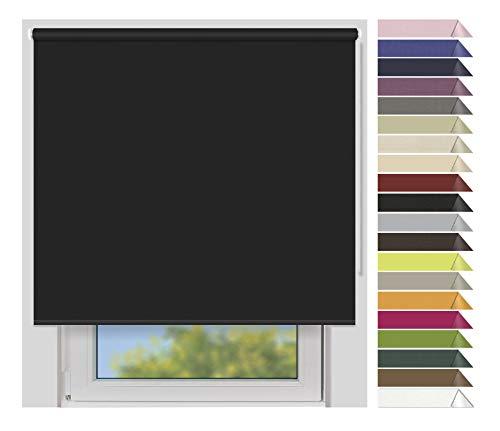 EFIXS Verdunklungsrollo Medium - 25 mm Welle - Farbe: schwarz (7917) - Breiten: 40-240 cm - Hier: 200 x 190cm (Stoffbreite x Höhe) lichtundurchlässig