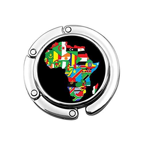 Mapa de la Bandera de África Todos los países África Bolso Plegable para Mujer Soporte de Gancho para Escritorio