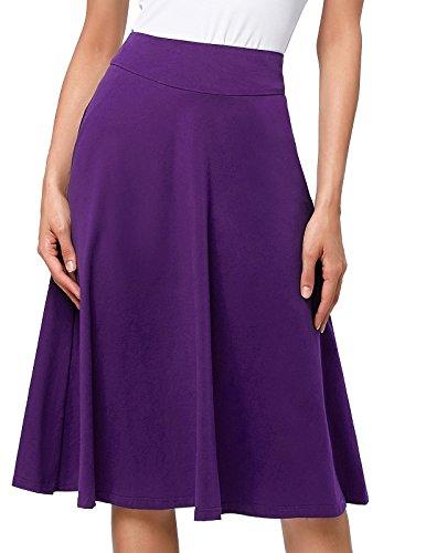 Flared Stretchy Midi Skirt High Waist Jersey Skirt for Women (M,Purple)