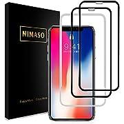 【2枚セット】Nimaso iPhoneX/XS 5.8インチ 用 全面保護フィルム 液晶強化ガラス 【フルカバー】【ガイド枠付き】【日本製素材旭硝子製】( アイフォンX/XS 用)