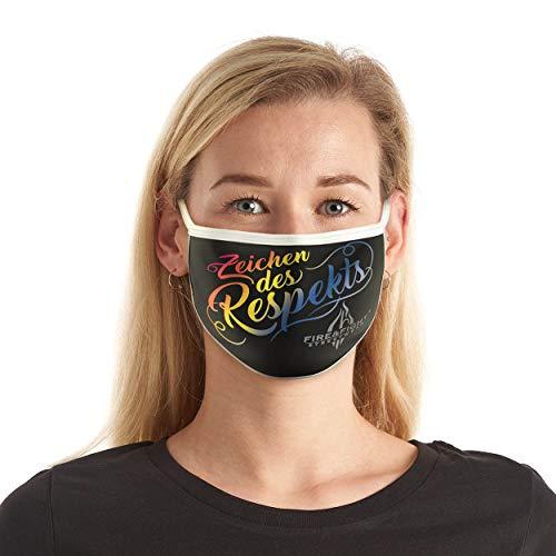 FIRE & FIGHT Streetwear Design-Mund-Nasen-Maske 'Zeichen des Respekts' Textil-Accessoire