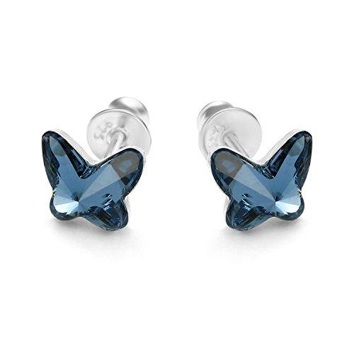 butterfly Bambine Ragazze Orecchini da Donna Argento Vero blu Swarovski Elements Originali Farfalla Sacchetto Stoffa Regalo Ragazza Bambina Gioielli