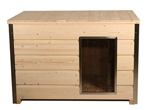 SAUERLAND Holz-Hundehütte mit 30 mm Isolierung und Flachdach, Eingang Längsseite