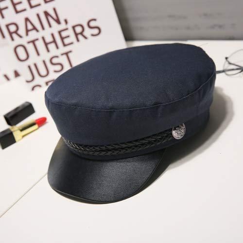 Moda Mujer Hombre Sombrero Primavera Otoño Sombreros de Marinero Señoras Negras Boina Gorras Tapa Plana Capitán Cap Sombrero Octogonal-Navy