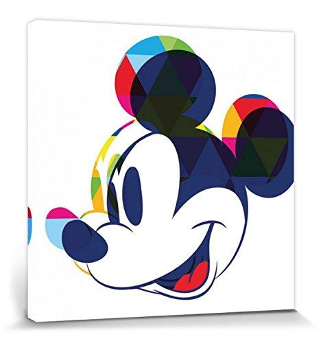 1art1 Mickey Mouse Poster Reproduction sur Toile, Tendue sur Châssis - Portrait Artistique Disney, Ombre Colorée (40 x 40 cm)