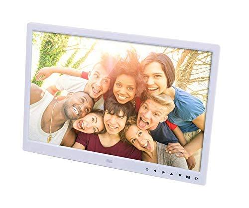 Marco de fotos digital con resolución de 1440 * 900, reproductor de películas HD portátil HDMI de 15 pulgadas, reproductor de botón táctil de reloj/música/video/calendario, color blanco