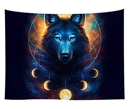 WCHUANG Blue Universe Galaxy Tapestry, Magic Wolf in The Space Tapestry Wall Hanging for Bedroom Living Room Dorm Wall Art Bohemian Bedspread, 60'X 80'