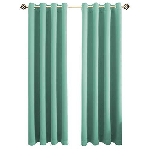 FLOWEROOM Blickdichte Gardinen Verdunkelungsvorhang - Lichtundurchlässige Vorhang mit Ösen für Schlafzimmer Geräuschreduzierung Smaragdgrün 160x132cm(HxB), 2er Set