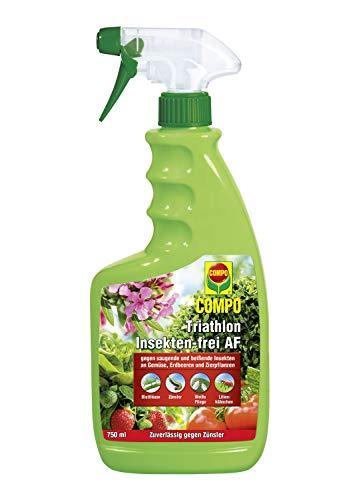 COMPO Triathlon Insekten-frei AF, Bekämpfung von saugenden und beißenden Insekten an Gemüse, Erdbeeren und Zierpflanzen, 750 ml