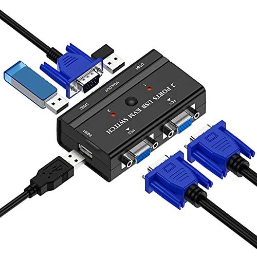 Conmutador KVM 2 Puertos, VGA USB Switch con 2 Cables KVM, Selector para Compartir un Monitor de Video de 1 Piezas y 3 Dispositivos USB, Teclado, Mouse, Escáner, Impresora