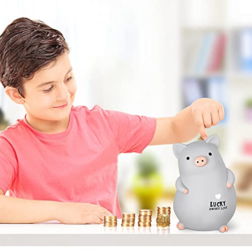 Lefree Piggy Bank with Cute Stickers, Unbreakable Plastic Coin Bank Kids Piggy Bank for Boys Girls and Adults on Birthday Thanksgiving and Christmas (Grey)