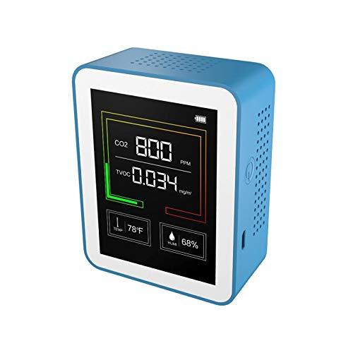 QuRRong Detector de Dióxido de Carbono Detector Portátil CO2 Detector De Aire De Calidad De Aire TVOC Sensor Temperatura Y Medidor De Humedad para Detección de Aire (Color : Azul, Size : One Size)