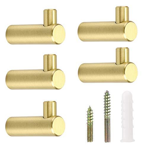 BSTKEY Juego de 5 ganchos decorativos de latón dorado, ganchos de pared, ganchos para toallas, percheros, perchas en forma de L