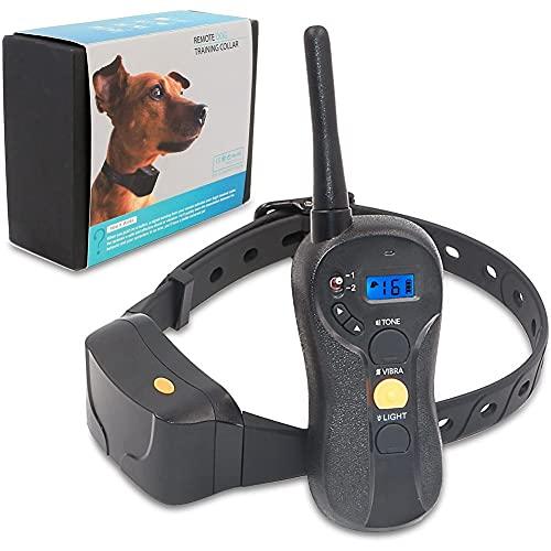 AFSDF Cuello Educativo Impermeable Impermeable Cuello Educativo con Vibración O Sonido A Través del Control Remoto Anti Bark