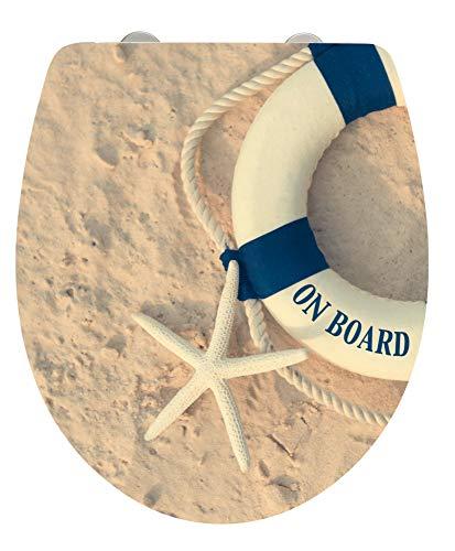 Wenko WC-Sitz On Board, Hochglanz-Toilettensitz, WC-Deckel mit Absenkautomatik und Fix-Clip Befestigung aus Duroplast