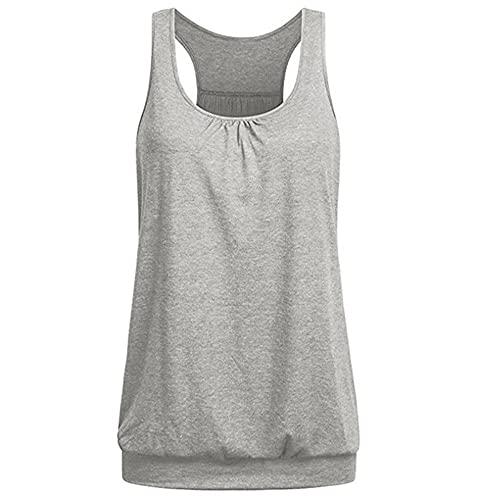 N\P Camiseta de las mujeres de color sólido sin mangas O cuello de las mujeres casual verano