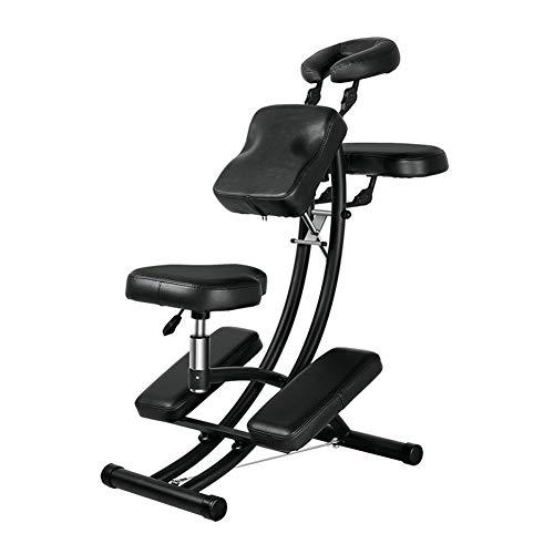 YZT QUEEN Massage Chair Kruk, Draagbare 150kg zwarte gewaagde verfstandaard Draagbare multifunctionele opvouwbare massagestoel, Geschikt voor Schoonheid, Tatoeage, Behandeling, Massage, enz.