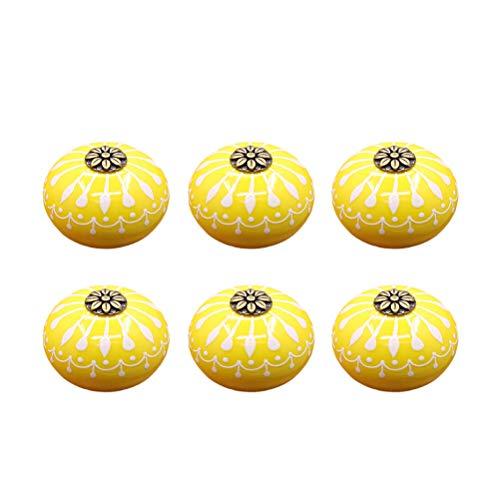 DOITOOL 6 Stück Keramik Schrank Knöpfe für Schubladengriff mit Schrauben Vintage Kommoden Knöpfe für Schrank Möbel Küche (gelb,ohne schwarzen Boden)