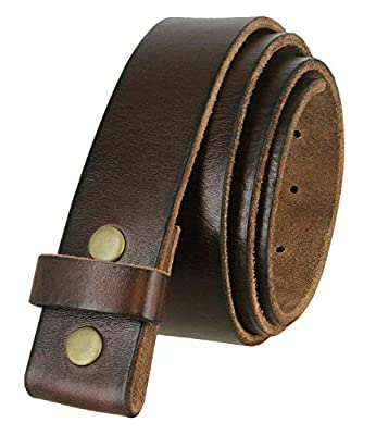 """100% One-Piece Full Grain Leather Belt Strap with No Slot Hole 1 1/2"""" Wide (Brown, 38)"""