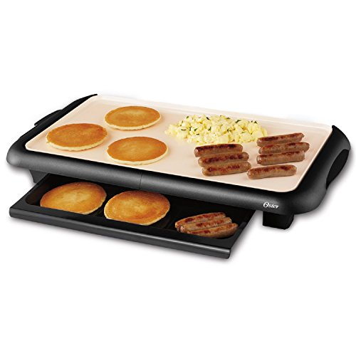 Oster Titanium Infused DuraCeramic Griddle with Warming Tray, Black/Crème (CKSTGRFM18W-TECO)