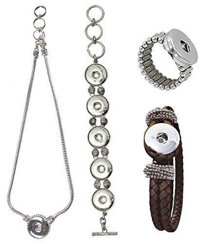 Sunsa Click-Buttons Chunks sieraden drukknopen klikknop voor sieraden set: Charms halsketting ring armband dames meisjes