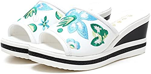 GTVERNH-La Bohême Loisirs Vacances Pantoufles 5 Cm Mon Chou Une Taffe Rétro Style Folklorique Brodés des Chaussures des Chaussures De Plage avec Pente.