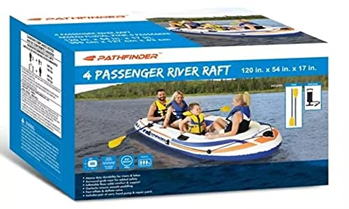 Inflatable Pathfinder Air River Raft Boat Set with Oars and Pump