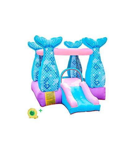 Grupo K-2 Castillo Hinchable Infantil con Tobogán e Hinchador | Casa Castillo Hinchable de Sirena para Niños De 215x195x280 Cm | para Jardín, Patio, Fiesta Infantil