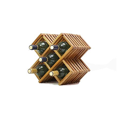 Botellero de madera maciza para decoración de vino, vitrina, sala de estar o casa (color: 5 botellas)