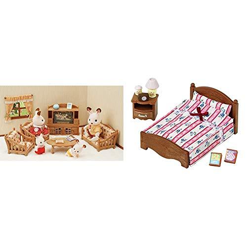 Sylvanian Families - 5339 - Set de salón de hogar + 5019 - Set Cama Doble