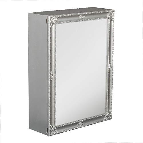 LEBENSwohnART Spiegelschrank MARA Silber Grau ca. 60x80cm Badschrank Spiegel Barock Schiebetür