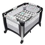 Living Equipment Silla mecedora 3 1 Cuna portátil para bebé Cama de bebé plegable Cuna Mesa de pañales Estación Parque de atracciones Fácil de viajar Cama de artefacto para dormir de bebé recién na