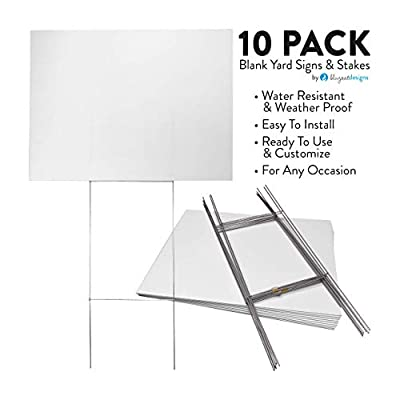 10 Pack 18x24 Blank Corrugated Yard Signs with Premium 10x30 Wire H-Frames. Create Parking, for Sale, for Rent, Open House, Now Hiring, Political, Graduation Party, Baby Shower Signs.