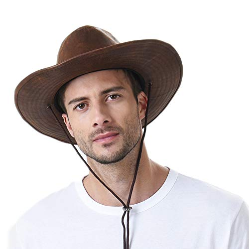 WITHMOONS Sombrero de Cowboy Indiana Jones Hat Weathered Faux Leather Outback Hat GN8749 (Brown)