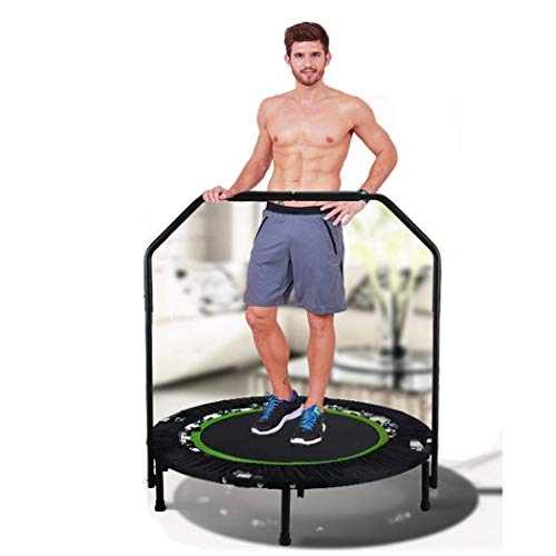 Tomasar Foldable Mini Trampoline Rebounder, Max Load 300lbs Rebounder Trampoline Exercise Trampoline with Adjustable Handrail for Indoor/Garden/Workout Cardio