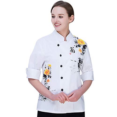 Dooxii Unisex Herren und Damen Herbst Langarm Kochjacke Professionel Kuchen Backen Uniform Berufsbekleidung