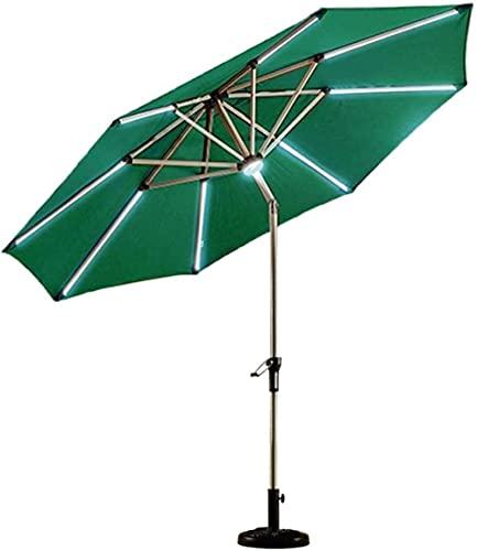 New Sun Parasol Umbrella Garden 2.7m (9ft) Sombrilla de Patio con luz Solar con manivela de Aluminio Inclinado/Base de sombrilla de Sunshine a Starlight para Pesca/jardín/cafetería(Sin Base)