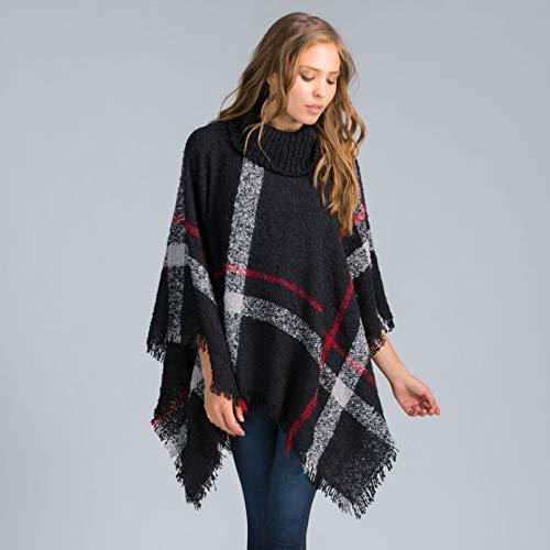 Moda invierno de las mujeres de lana caliente de la tela escocesa que hace punto del poncho de 7 colores proporcionados