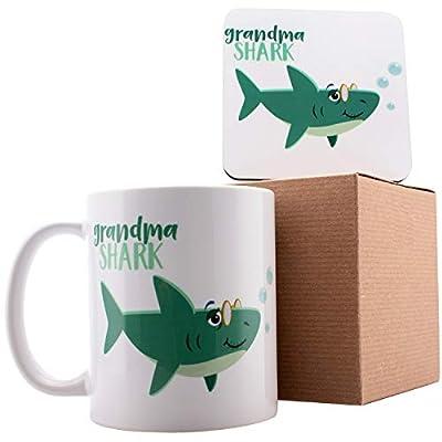 "Personalized Shark Family Grandma Shark Coffee Mugs - 11oz Ceramic Mugs - Birthday Gifts, Mother""s Day Gifts, Fathers Day Gifts, Christmas Gifts"