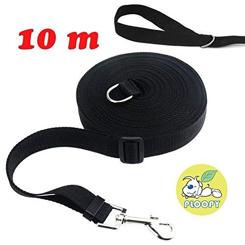 Ploopy D-Ring Hunde Ausbildung Gehorsam Seil, Hundeleine/Laufleine/Schleppleine/Fährtenleine/Suchleine (D-Ring 10m, Schwarz)