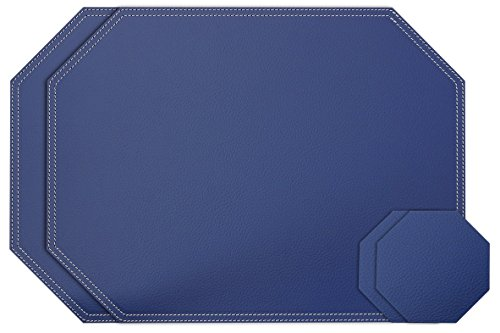 Nikalaz Bleu Octagon Lot de 2 Sets de Table et Dessous-de-Verre, Cuir recyclé, 40x30 cm, Dessous-de-Verre 10 * 10 cm (Bleu)