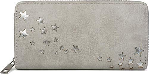 styleBREAKER Damen Portemonnaie mit Metallic Stern Cut-Outs, Reißverschluss, Geldbörse 02040115, Farbe:Hellgrau