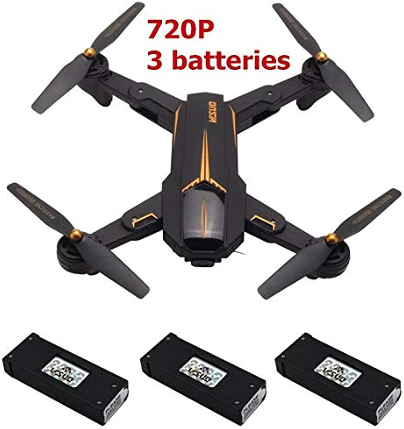 Generic Newest VISUO GPS RC Drone 2MP HD Camera 5G WiFi FPV Altitude Hold One Key Return RC Quadcopter Helicopter VS E58 X12 XS809S 720P 3 Batteries