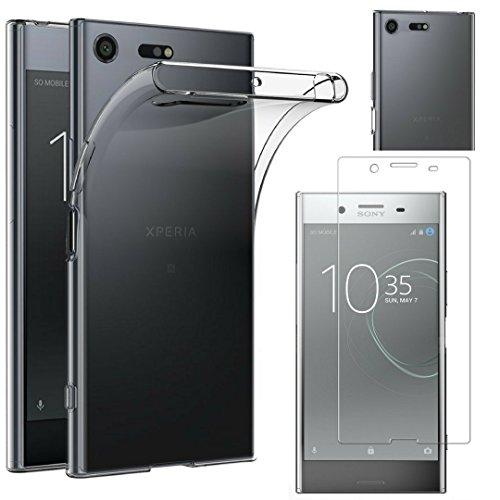 PHONILLICO Coque Sony Xperia XZ Premium + Verre Trempé Film Protection Ecran - Housse Etui Gel TPU Silicone Transparent Protection Souple Ultra Mince - Vitre Protecteur