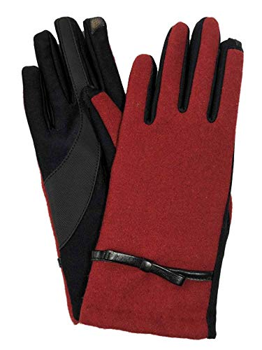 Isotoner Smart Touch Womens Red Bow Tech & Text Touchscreen Gloves Medium/Large