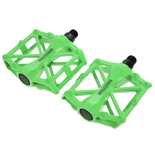 WOOAI Accesorios de Bicicleta Universal Pedales de Bicicleta de montaña MTB ultraligeros Aleación de Aluminio Plataforma de Bicicleta de Pedal Profesional de Ciclismo, Verde