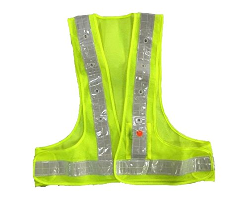 AdirPro LED Light Safety Vest with Reflective Stripes - Green