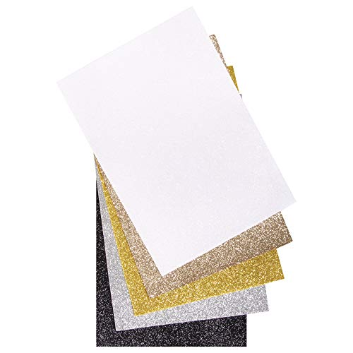 Rayher 53961000 Glitzer-Filz, 5 Platten, farblich sortiert (weiß, silber, kaschmirgold, gold, schwarz), 21 x 30 x 01 cm, 100% Polyester