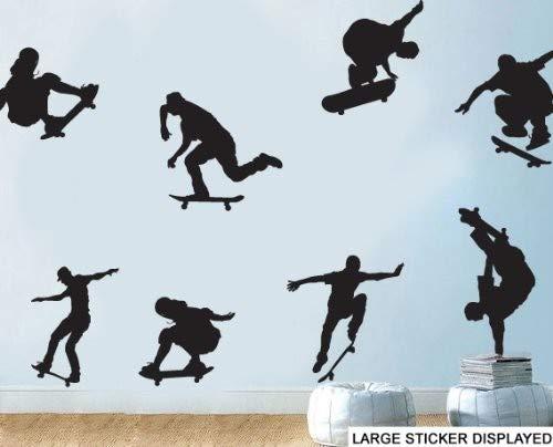 W Wandtattoo, Motiv Skateboard-Silhouette, Vinyl, Größe und Farbe im Menü unten – Größe M 58 cm x 58 cm, Schwarz, 8 Stück